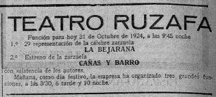 1924-10-31 Las Provincias (Valencia) - Teatro Ruzafa estreno Cañas y Barro.jpg