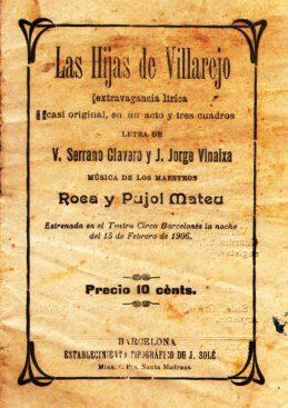 VSC - Las Hijas de Villarejo (Zarzuela) Libreto impreso 1906 (portada).jpg