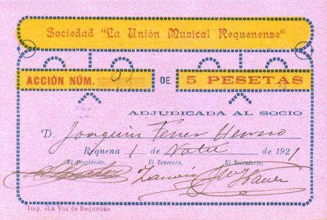 Acción de la Sociedad La Unión Musical Requenense (01-11-1921) anverso.jpg